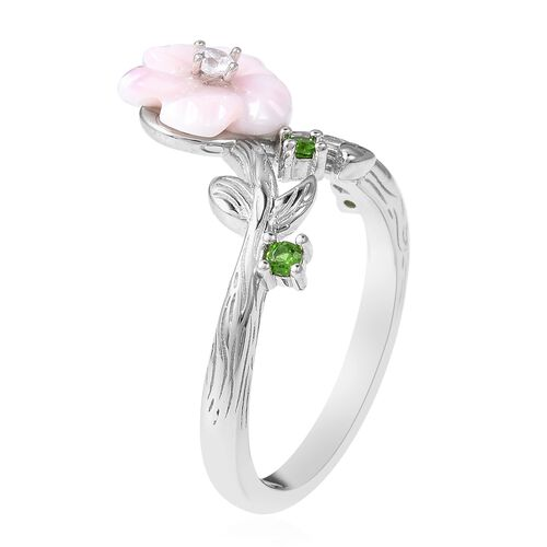 Jardin Collection - Pink Mother of Pearl and Russian Diopside and Natural White Cambodian Zircon Ring in Rhodium Overlay Sterling Silver 1.915 Ct.