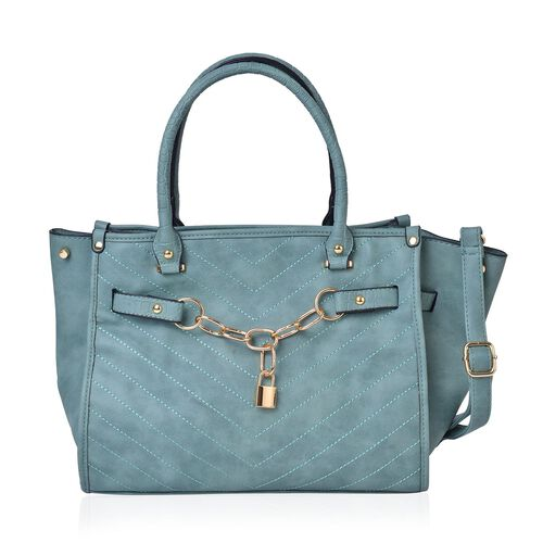 Green Colour Chevron Quilted Tote Bag with Lock Charm and Adjustable and Removable Shoulder Strap (S