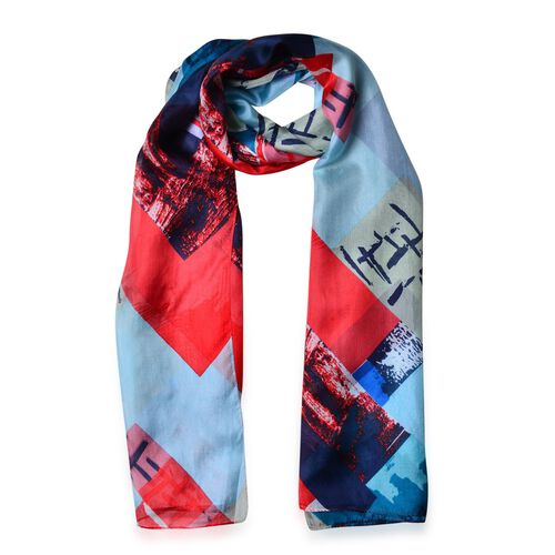 One Time Deal-Designer Inspired 100% Mulberry Silk Red, Blue and Multi Colour Abstract Printed Scarf (Size 180X110 Cm)