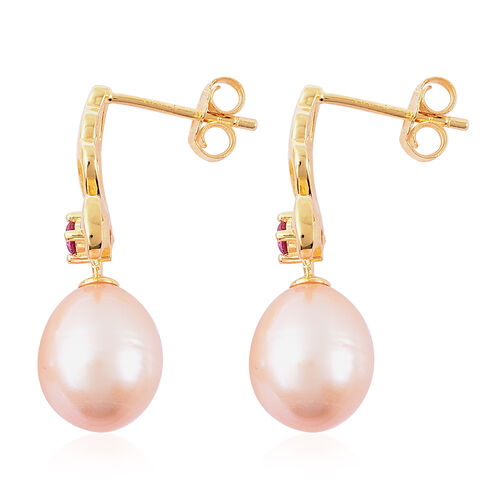 Freshwater Peach Pearl and Simulated Ruby Drop Earrings (with Push Back) in Yellow Gold Overlay Sterling Silver