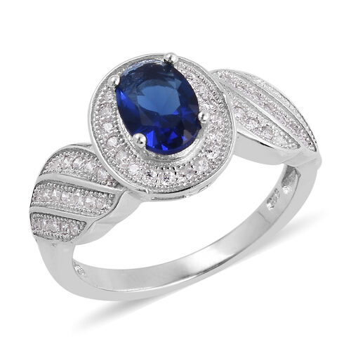 ELANZA Simulated Blue Sapphire (Ovl),Simulated Diamond Ring in Rhodium Overlay Sterling Silver
