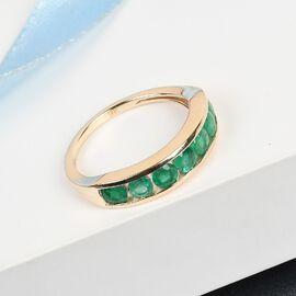 9K Yellow Gold AAA Kagem Zambian Emerald Half Eternity Band Ring 1.19 Ct.