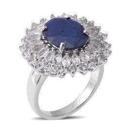 Designer Inspired- Kanchanaburi Blue Sapphire (Ovl 12x10mm, 5.56 Ct) and White Topaz Ring in Rhodium