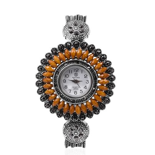 STRADA Japanese Movement Water Resistant Watch with Studded Grey Austrain Crystal, Simulated Jasper Stone and Antique Silver Alloy Strap in Silver Plated.