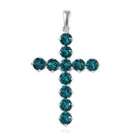 J Francis Blue Zircon Crystal from Swarovski Cross Pendant in Sterling Silver