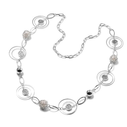 Simulated Pearl Necklace (Size 40) in Silver Tone