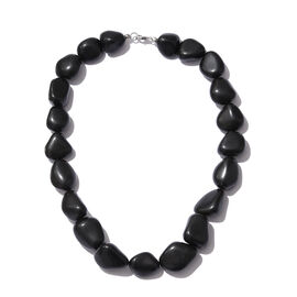 Very Rare Size Black Agate Necklace (Size 18) in Platinum Overlay Sterling Silver 697.500 Ct.