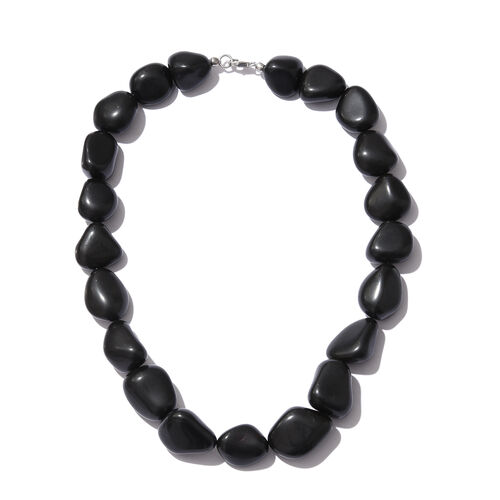 Only 76 Made- Very Rare Size Black Agate Necklace (Size 18) in Platinum Overlay Sterling Silver 697.500 Ct.