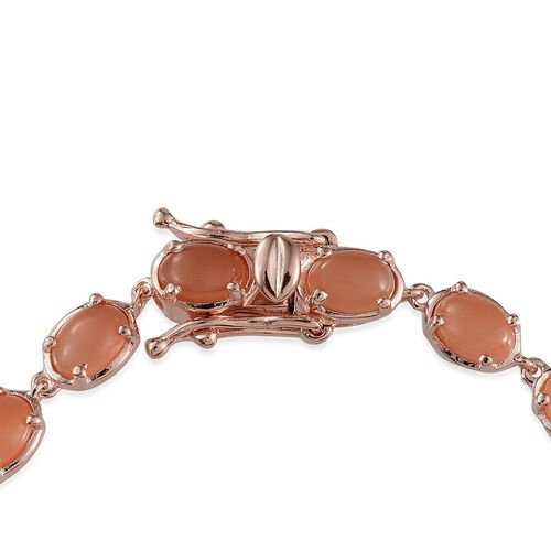 Mitiyagoda Peach Moonstone (Ovl) Bracelet in Rose Gold Overlay Sterling Silver (Size 7.5) 10.000 Ct.