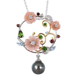 JARDIN COLLECTION - Pink Mother of Pearl, Russian Diopside, Swiss Blue Topaz and Multi Gemstone Enameled Floral Pendant with Chain (Size 18) in Rhodium and Gold Overlay Sterling Silver