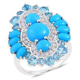 Arizona Sleeping Beauty Turquoise (Rnd), Swiss Blue Topaz and White Zircon Ring in Platinum Overlay