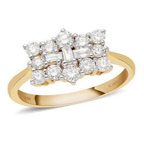 ILIANA 18K Yellow Gold IGI Certified Diamond (SI/G-H) Ring 1.000 Ct.