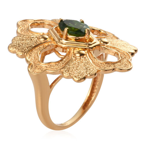 GP Russian Diopside and Blue Sapphire Ring in 14K Gold Overlay Sterling Silver