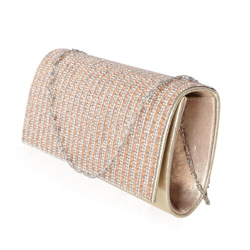 Gold Crystal Detailed Clutch Bag with Chain Strap