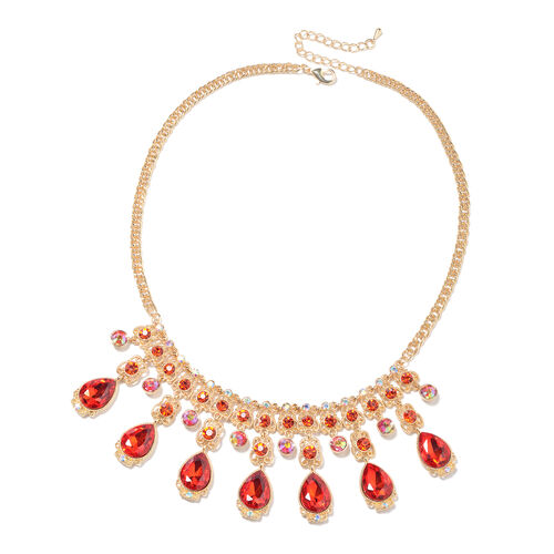 Simulated Ruby, Red Austrian Crystal and Simulated Mystic White Crystal Necklace (Size 23 with Exten