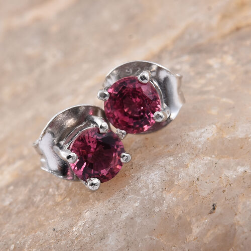 Mahenge Pink Spinel (Rnd) Stud Earrings (with Push Back) in Platinum Overlay Sterling Silver 0.500 Ct.