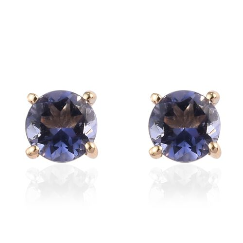 9K Yellow Gold AA Iolite Stud Earrings (with Push Back) 0.55 Ct.