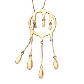LucyQ Adjustable Drip Necklace in Gold Plated Sterling Silver 30 Inch
