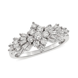 Moissanite Ring in Rhodium Overlay Sterling Silver 1.17 Ct.