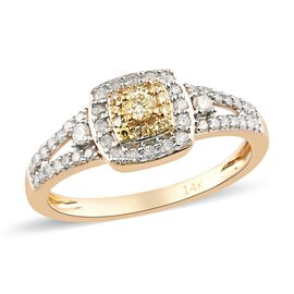 14K Yellow Gold White and Natural Yellow Diamond Ring 0.50 Ct.