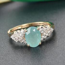 GP - 9K Yellow Gold AA Grandidierite, White Diamond and Blue Sapphire Ring 1.45 Ct.