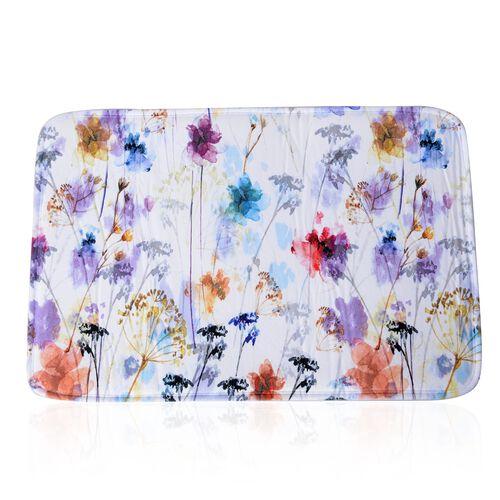 Multi Colour Flowers Printed Shower Curtain (Size 180x180 Cm) with Bathmat (Size 60x40 Cm)