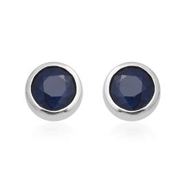 3.10 Ct Kanchanaburi Blue Sapphire Solitaire Stud Earrings in Rhodium Plated Sterling Silver