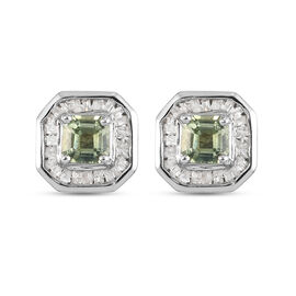 Green Sapphire and Diamond Stud Earrings (with Push Back) in Platinum Overlay Sterling Silver 1.16 C