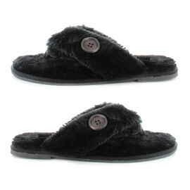 Ella Rebecca Supersoft Toe Post Slipper in Black Colour