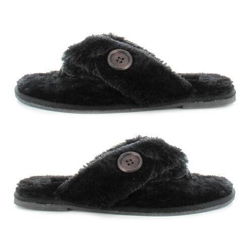 Ella Rebecca Supersoft Toe Post Slipper (Size 3) - Black
