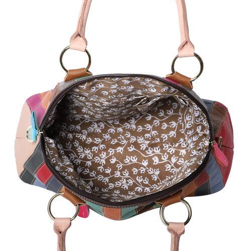 100% Genuine Leather Stripe-Pattern Handbag with Detachable Shoulder Strap (Size 37x16x28cm) - Multi Colour