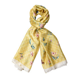 Yellow and Off White Colour Butterfly with Floral Pattern Scarf (Size 90x180 Cm)