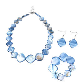 3 Piece Set - Blue Shell Necklace (Size 18 with 2 inch Extender), Stretchable Bracelet (Size 7) and