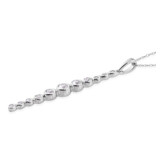 0.50 Carat AA Natural Cambodian Zircon Drop Pendant With Chain in 9K White Gold