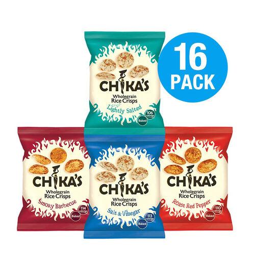 CHIKAS Rice Crisps 16 Pack (4 x Packets Smoky BBQ Rice Crisps, 4 x Packets Red Roast Pepper, 4 x Pac