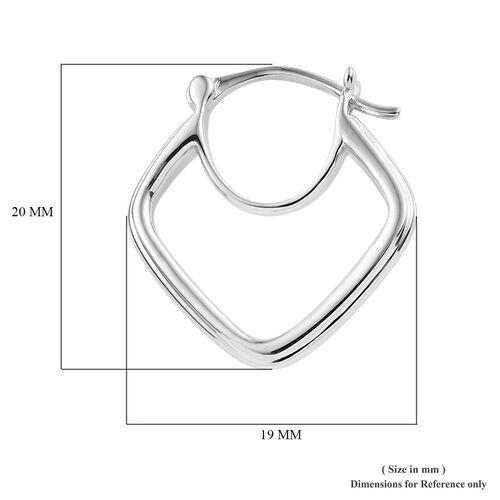 Super Auction- Designer Inspired 9K White Gold Hoop Earrings.Gold Wt 4.00 Gms