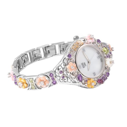 Jardin Collection-EON 1962 Swiss Movement  Water Resistant Bracelet Watch(Size 7.5 with Extender) in Rhodium Overlay Sterling Silver .Silver wt 28.40 Gms