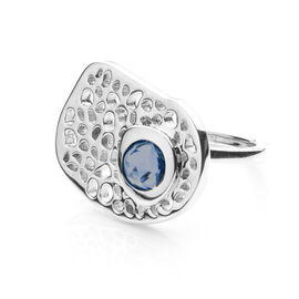 RACHEL GALLEY London Blue Topaz (Rnd) Lattice Ring in Rhodium Overlay Sterling Silver 1.075 Ct, SIlv