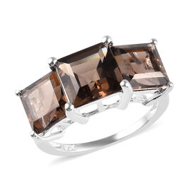 Brazilian Smoky Quartz (Sqr) Three Stone Ring in Sterling Silver 6.00 Ct.