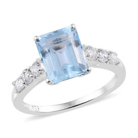 3.25 Ct Sky Blue Topaz and Cambodian Zircon Solitaire Ring in Sterling Silver