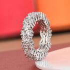 J Francis - Platinum Overlay Sterling Silver Ring (Size L) Made with SWAROVSKI ZIRCONIA 6.80 Ct, Silver wt. 5.00 Gms