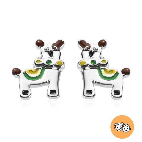 Platinum Overlay Sterling Silver Enamelled Llama Kids Stud Earrings (with Push Back)