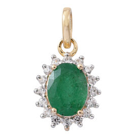 1.50 Ct AA Kagem Zambian Emerald and Natural White Cambodian Zircon Halo Pendant in 9K Gold