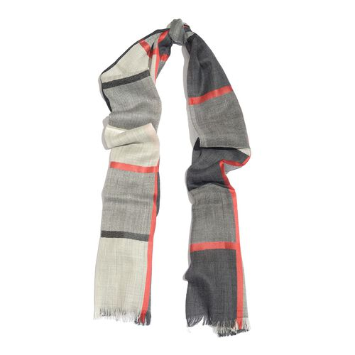 92% Merino Wool and 8% Silk Black, Red and White Colour Checks Pattern Scarf with Fringes (Size 190X100 Cm)
