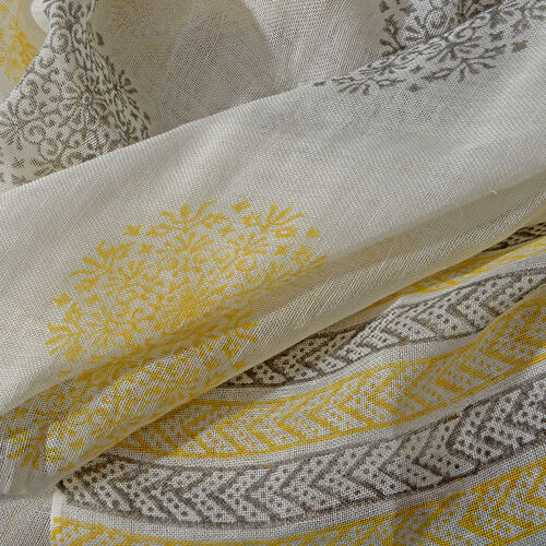 White, Grey and Yellow Colour Handblock Printed Scarf (Size 190x75 Cm)