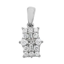RHAPSODY 950 Platinum IGI Certified Diamond (Rnd and Bgt) (VS/E-F) Boat Cluster Pendant 0.500 Ct.