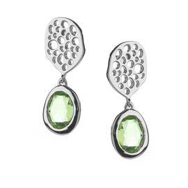 RACHEL GALLEY Hebei Peridot (Ovl 8x6 mm) Lattice Earrings in Rhodium Overlay Sterling Silver 2.63 Ct