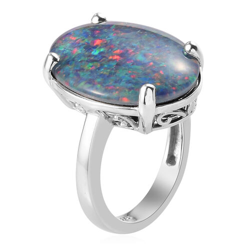 Extremely Rare Size- AAA Boulder Opal (OV 20X15 mm) Ring in Platinum Overlay Sterling Silver
