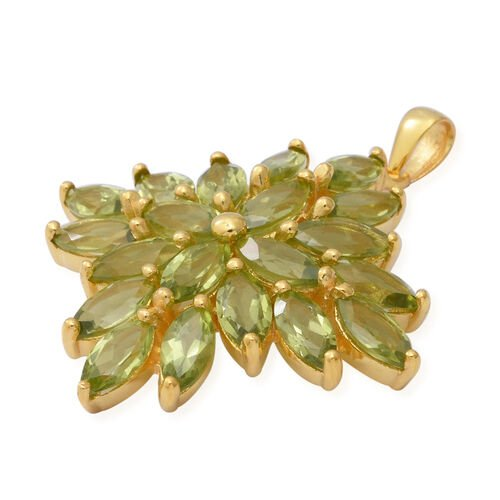 Hebei Peridot Cluster Pendant in Yellow Gold Overlay Sterling Silver 10.00 Ct, Silver wt 6.65 Gms