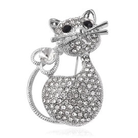 Black and White Austrian Crystal Cat Brooch in Silver Tone